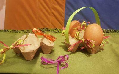 Wielkanocna ozdoba – koszyczek ztekturowego opakowania pojajkach